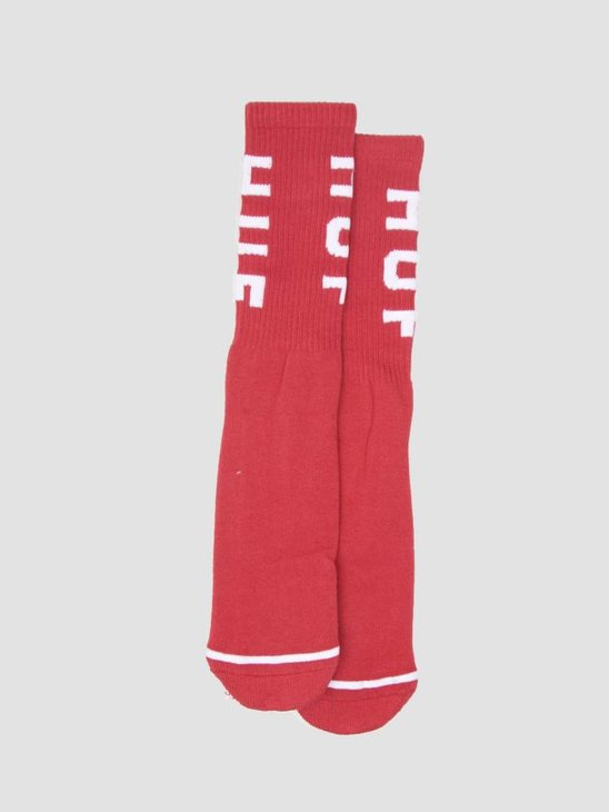 HUF OG Logo Socks Resort Red SK00239