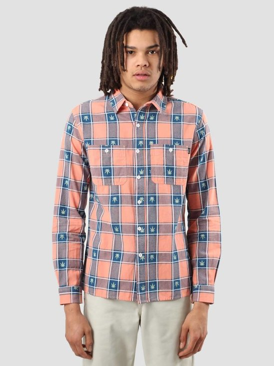 HUF Plantlife Plaid Shirt Smoked Peach BU00028SMKPE