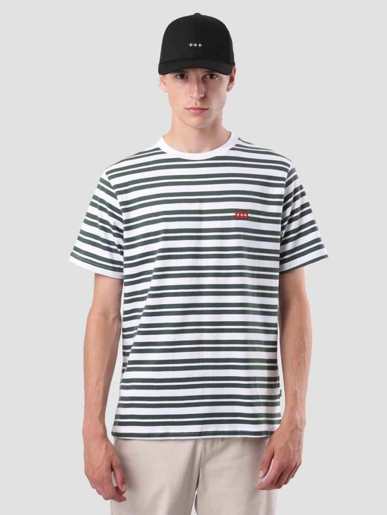 Quality Blanks QB96 Double Stripe T-shirt Pineneedle