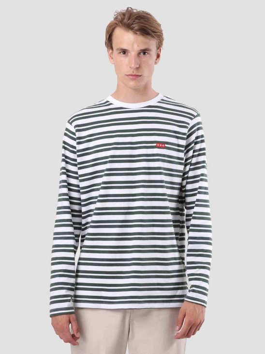 Quality Blanks QB97 Double Stripe Longsleeve Pineneedle