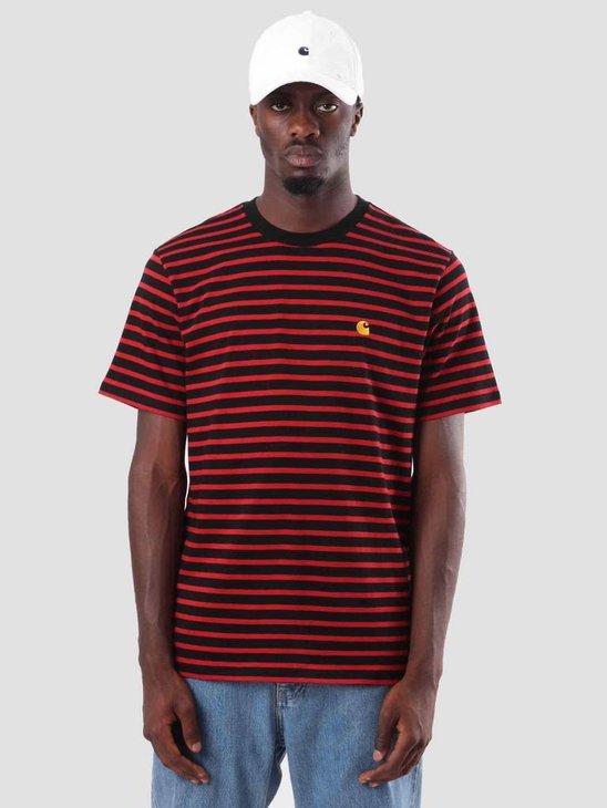 Carhartt Robie T-Shirt Stripe Black Blast Red Quince I022004-8990