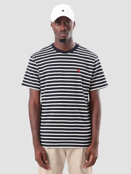 Carhartt Robie T-Shirt Stripe Dark Navy Wax Blast Red I022004-1CST