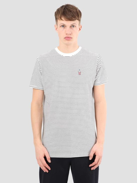 Wemoto Shake Stripe T-Shirt Offwhite Black 111.230-203