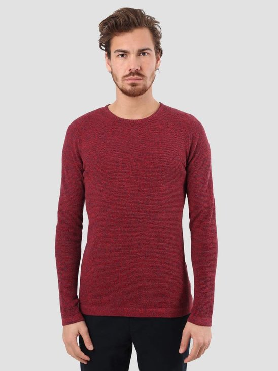 RVLT Slim Fit Pearl Structure Knit Red 6470