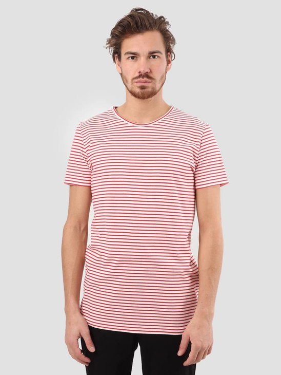 RVLT Striped T-Shirt Dark Red 1005