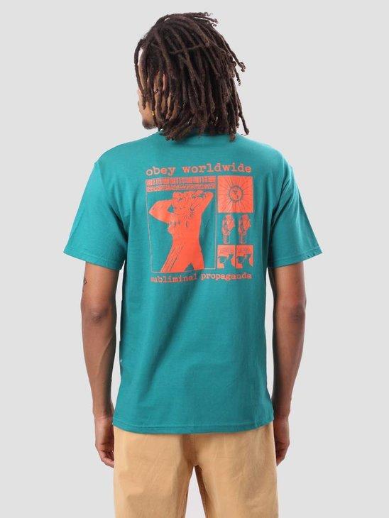 Obey Subliminal Propaganda Basic T-Shirt Teal 163081725