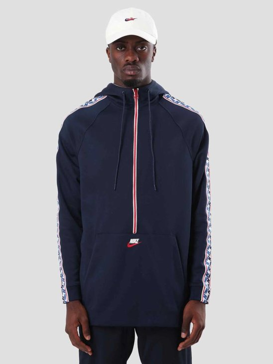 Nike Taped Half Zip Hood Poly Obsidian Gym Red Sail Aj2296-451