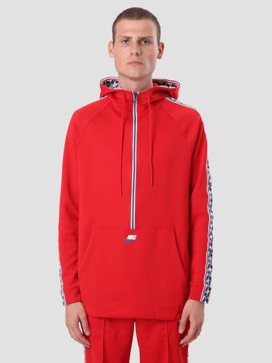 Nike Taped Half Zip Hood Poly University Red Gym Blue Sail Aj2296-657