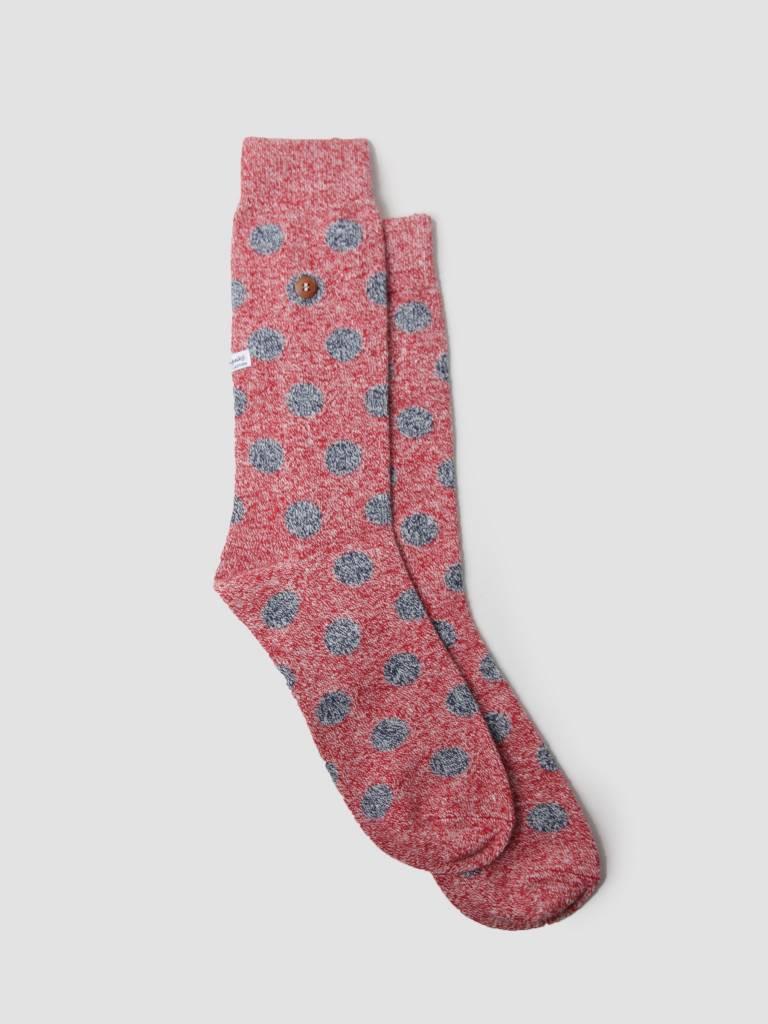 Alfredo Gonzales Alfredo Gonzales Twisted Wool Dots Socks Red Navy AG-Sk-TWDOT-01