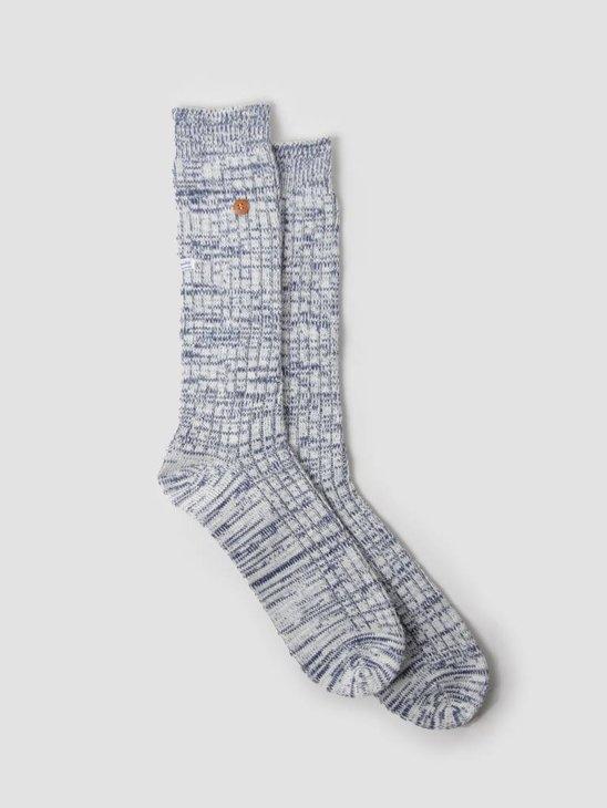 Alfredo Gonzales Twisted Wool Plain Socks Navy White AG-Sk-TW-08
