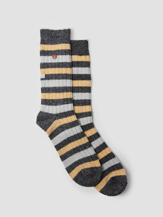 Alfredo Gonzales Twisted Wool Stripes Socks Black Yellow Light Grey AG-Sk-TWSTR-01