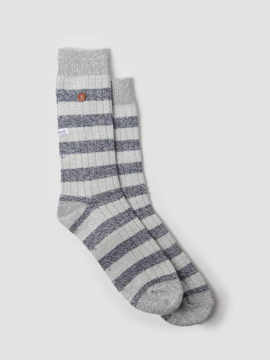 Alfredo Gonzales Twisted Wool Stripes Socks Light Grey Navy Grey AG-Sk-TWSTR-01
