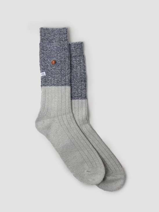 Alfredo Gonzales Twisted Wool Two Tone Socks Light Grey Navy AG-Sk-TW2-01