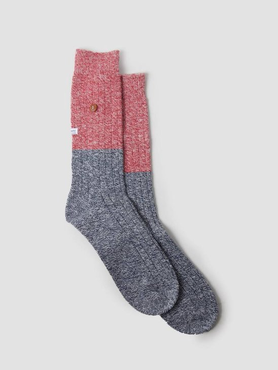 Alfredo Gonzales Twisted Wool Two Tone Socks Navy Red AG-Sk-TW2-01