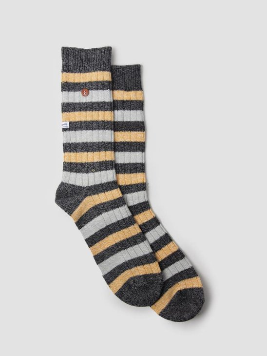 Alfredo Gonzales Twisted Wool Two Tone Socks Yellow Black AG-Sk-TW2-01