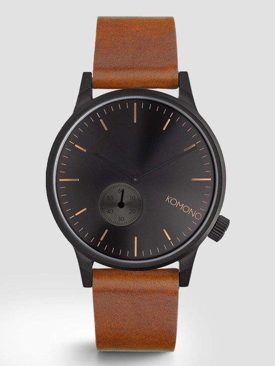 Komono Winston Sub Black Cognac Watch KOM-W3005
