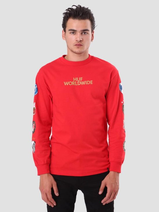 HUF Worldcup Club Crest Longsleeve Red TS00482