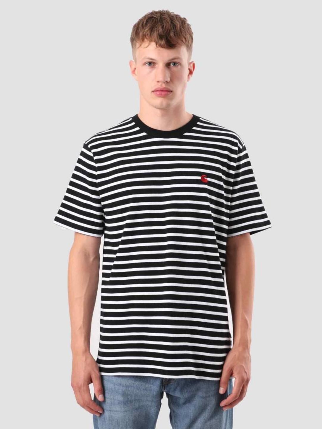Carhartt WIP Carhartt WIP Robie T-Shirt Stripe Black White Blast Red I022004-8991