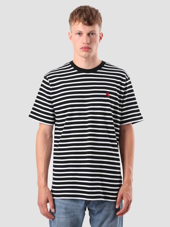 Carhartt WIP Robie T-Shirt Stripe Black White Blast Red I022004-8991