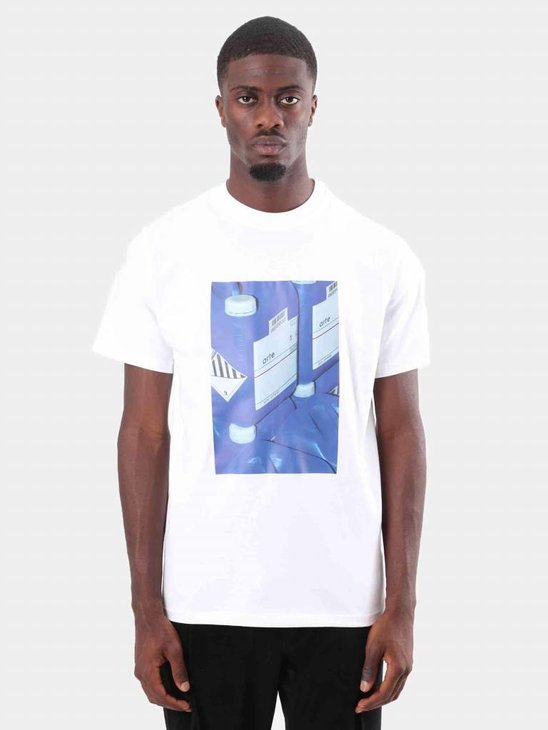 Arte Antwerp Tony Blue Print T-Shirt White AW18-007