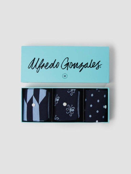Alfredo Gonzales 3 Pack Giftbox Socks Blue AG-3P-BLUE