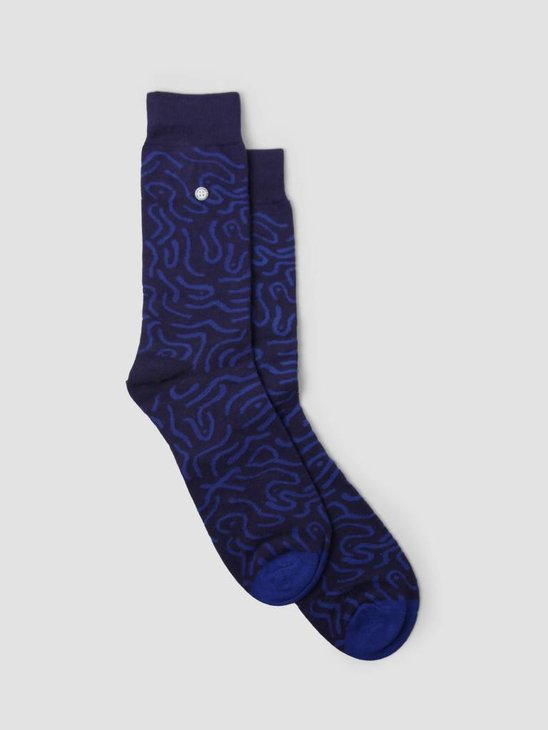 Alfredo Gonzales Abstract Socks Navy Blue AG-Sk-AB-01