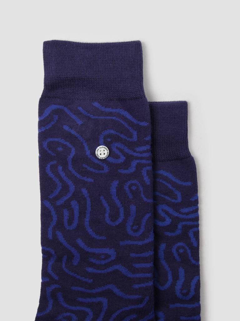 Alfredo Gonzales Alfredo Gonzales Abstract Socks Navy Blue AG-Sk-AB-01