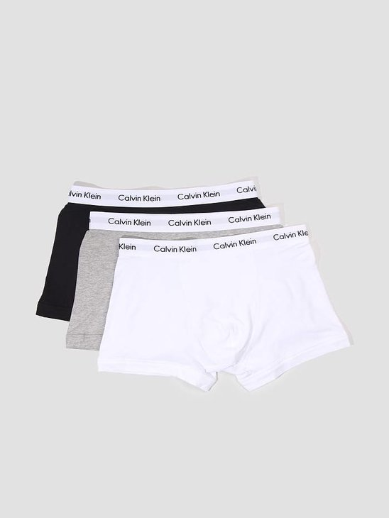 Calvin Klein 3 Pack Cotton Stretch Trunk Black White Grey Heather U2662G