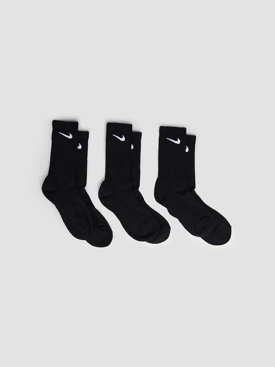 Nike 3 Pack Lightweight Crew Socks Black White SX4704-001