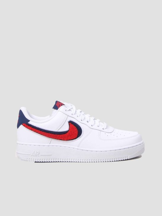 Nike Air Force 1 07 LV8 Shoe White University Red-Blue Void 823511-106