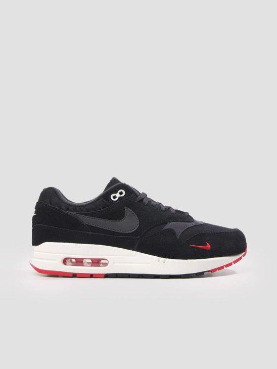 Nike Air Max 1 Premium Shoe Black Oil Grey-University Red-Sail 875844-007