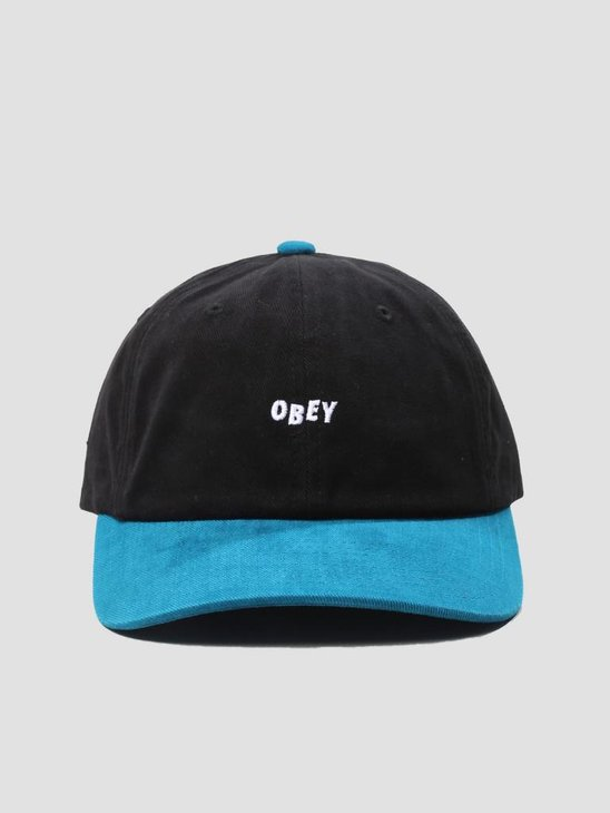 Obey 90'S Jumble 6 Panel Snapback 6 Panel Hat Black Deep Teal 100580076