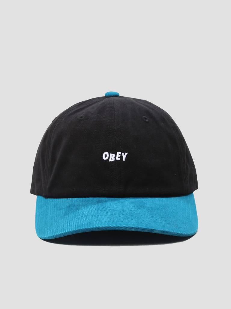 Obey Obey 90'S Jumble 6 Panel Snapback 6 Panel Hat Black Deep Teal 100580076
