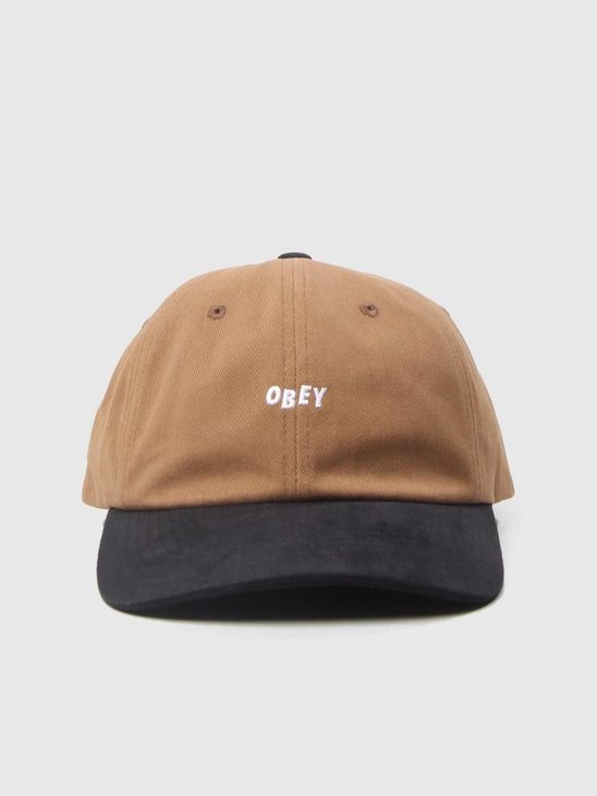 Obey 90s Jumble Bar 6 Panel Snapback Bone Brown Black 100580076