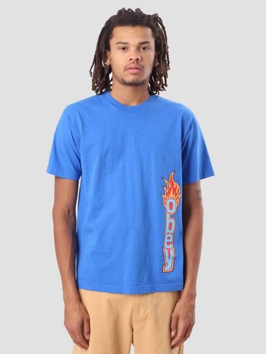 Obey Obey Flame Heavy Weight Classic Box T-Shirt Royal Blue 166911715