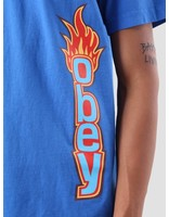 Obey Obey Obey Flame Heavy Weight Classic Box T-Shirt Royal Blue 166911715