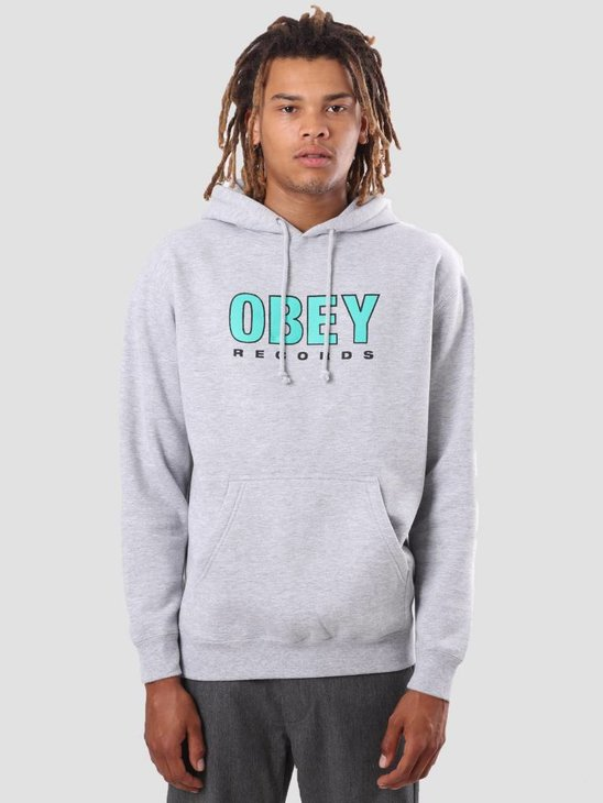 Obey Obey Records 2 Hoodie Heather Grey 111731786