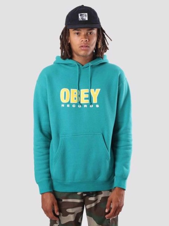 Obey Obey Records 2 Hoodie Teal Blue 111731786