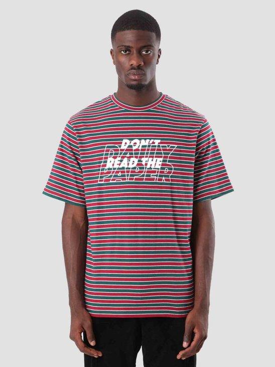 Daily Paper Doam T-Shirt Dark Green Dark Red White Stripe 18F1TS24