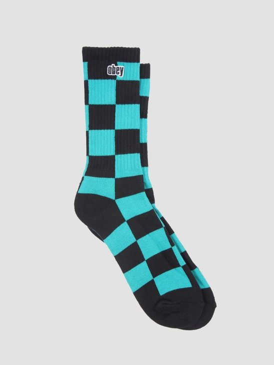 Obey Checkers Socks Teal Multi 100260122