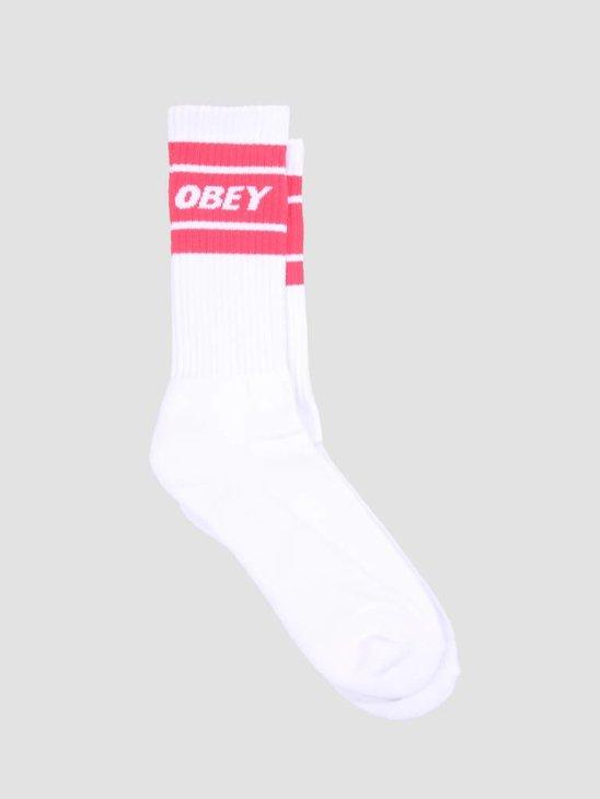 Obey Cooper II Socks White Coral Pink 100260093