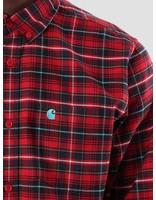 Carhartt Carhartt Patton Shirt Patton Check Blast Red Soft Teal I025244-LR90