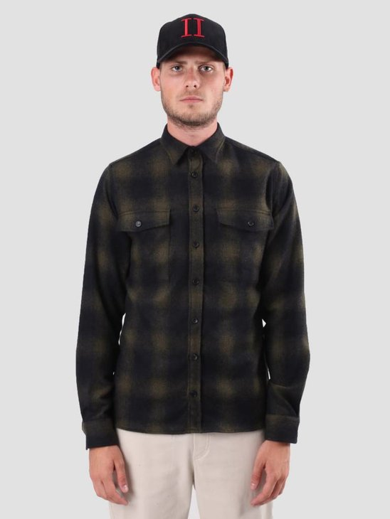 Les Deux Bryson Wool Check Overshirt Black Green LDM410019