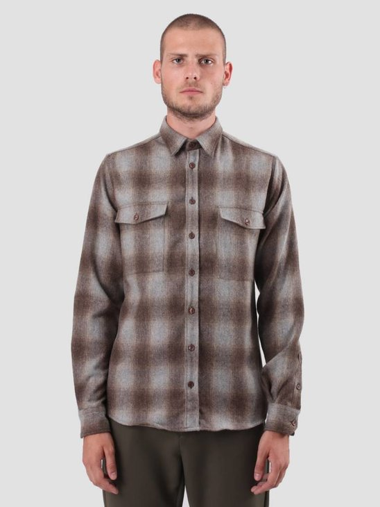 Les Deux Bryson Wool Check Overshirt Light Brown Grey LDM410019