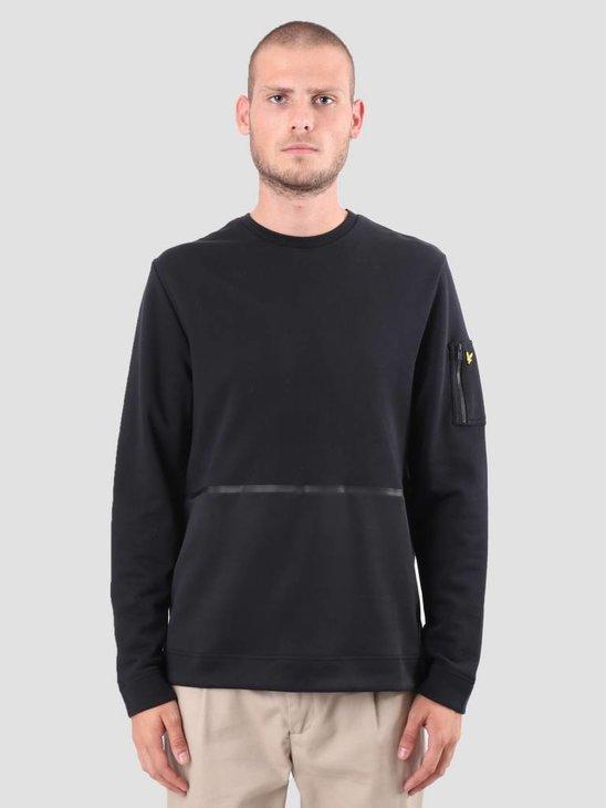 Lyle and Scott Fabric Mix Sweatshirt True Black ML921V