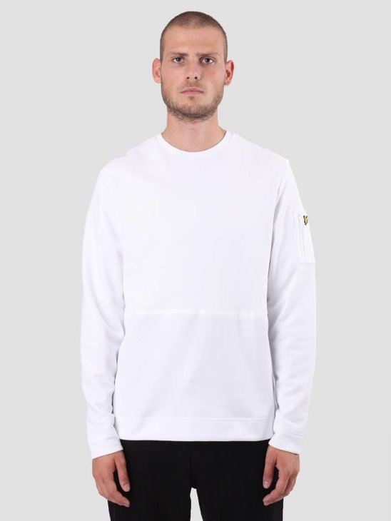 Lyle and Scott Fabric Mix Sweatshirt White ML921V