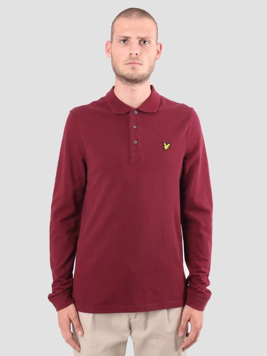 Lyle and Scott Longsleeve Polo Claret Jug LP400VB