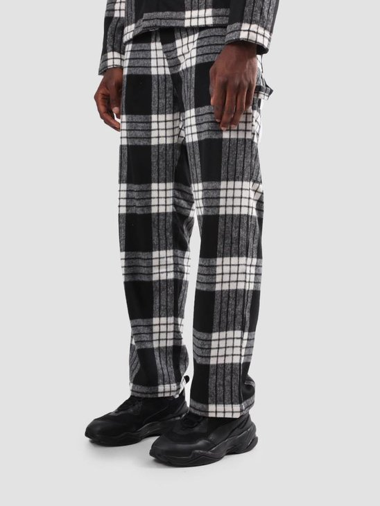 Arte Antwerp Parton Plaid Pattern Pants White Black AW18-055