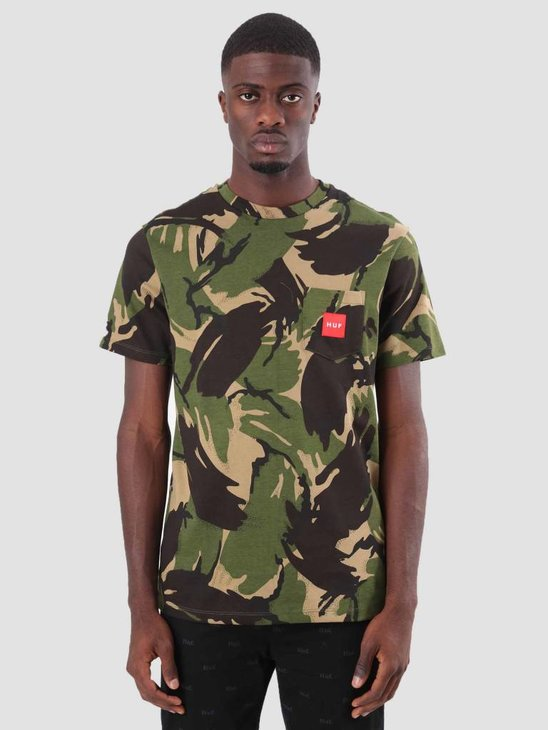 HUF Woven Label Pocket T-Shirt Deep Olive TS00381