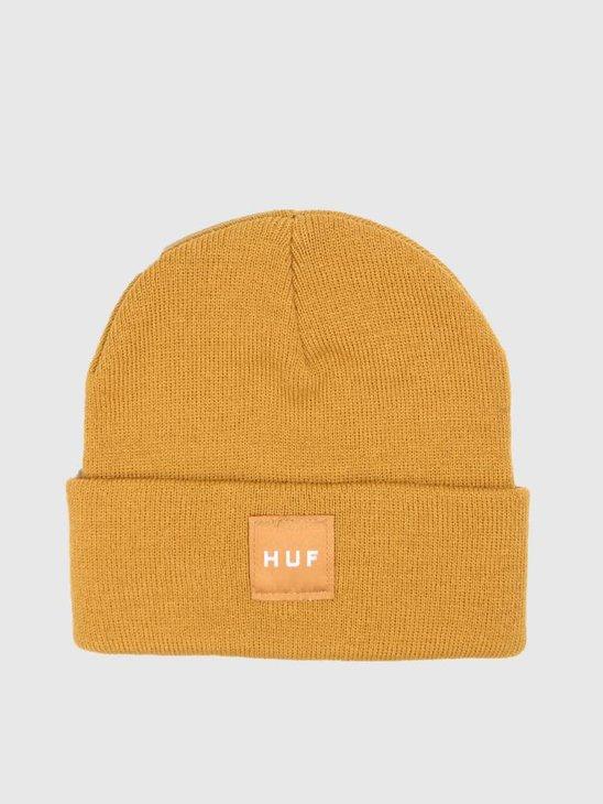 HUF Box Logo Beanie Honey Mustard BN00047